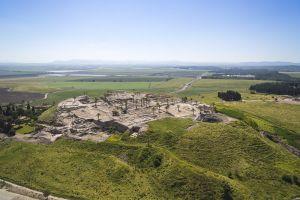 Tel Megiddo Jezreel valley arial view